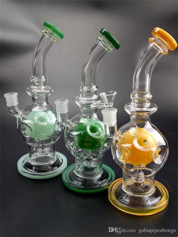 10 Inches Fab Egg Recycler Bong Swiss Percolator Glass Water Pipes 14.5mm Female Joint Dab Rigs Waterpipe Glass Water Pipe GB-510