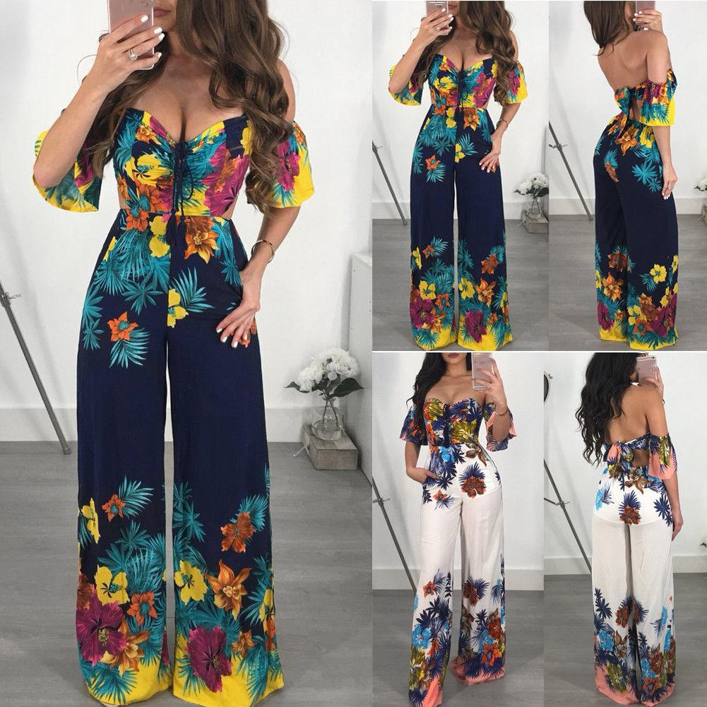 ba9f748f257 2019 2018 Fashion Boho Summer Women Jumpsuits 2 Style Off Shoulder Strapless  Belt Backless Floral Print Jumpsuits Romper From Qinfeng09