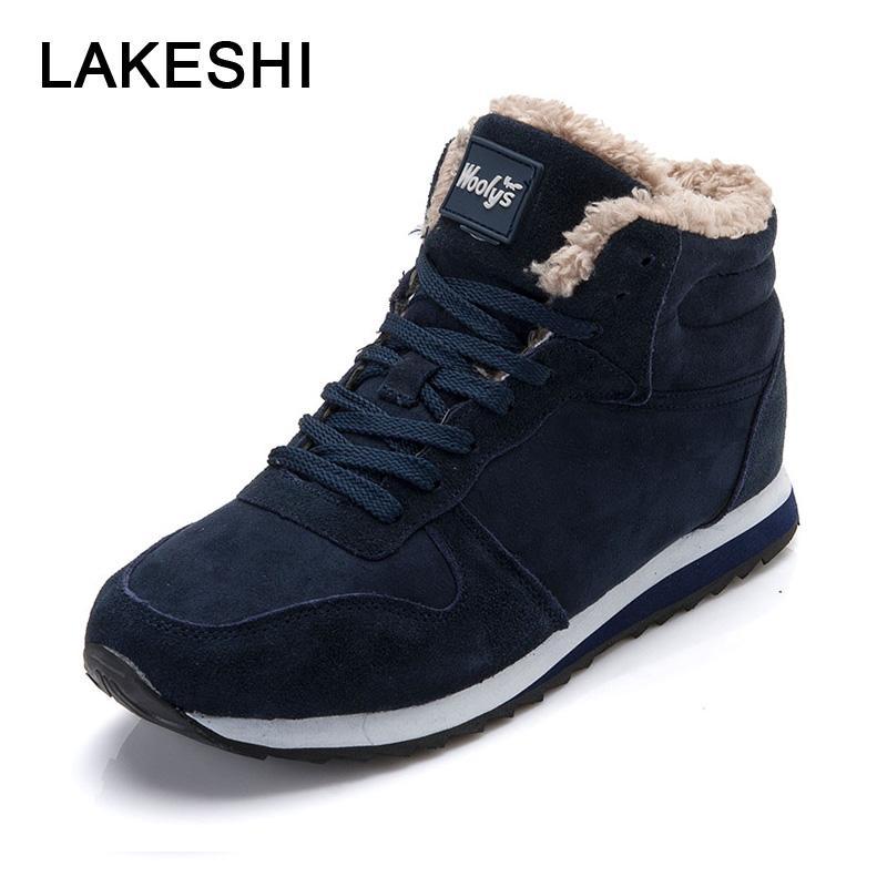 3b1758a56 Compre LAKESHI Homens Botas De Inverno Sapatos Botas De Neve Quentes 2018  Novos Sapatos Masculinos Azul Preto Lace Up De Camurça Tornozelo Moda  Casual ...