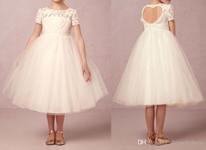 ba230e88f8e 2018 New Beautiful Crew Neck Short Sleeves Flower Girl Dresses Lace Appliques  Backless Toddler Kids Formal Pageant Gown Custom Made Flower Girl  Accessories ...