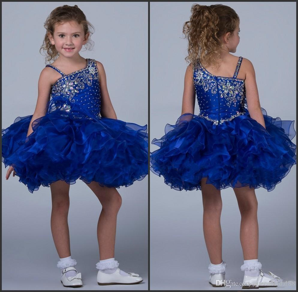 2018 little girls pageant dresses for teens one shoulder beaded rhinestone zipper back organza mini flower girls dresses for weddings