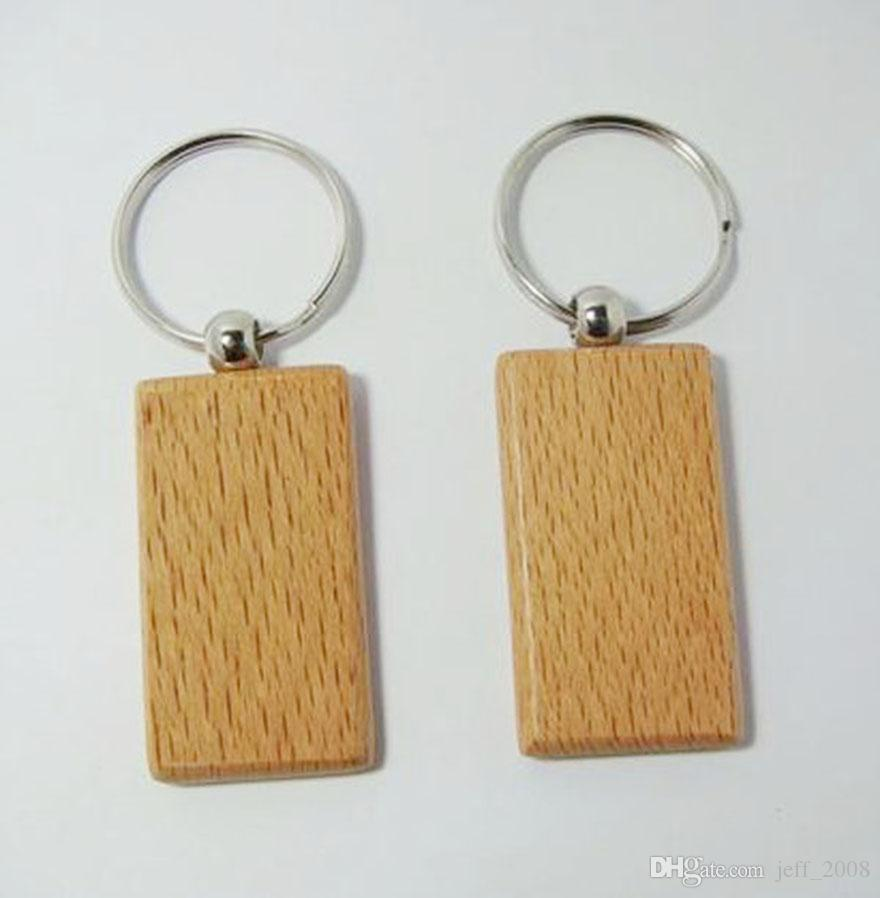 Atacado Em Branco Retângulo De Madeira Chaveiro DIY Promoção Personalizado Tags Chave Brindes Promocionais-Frete Grátis