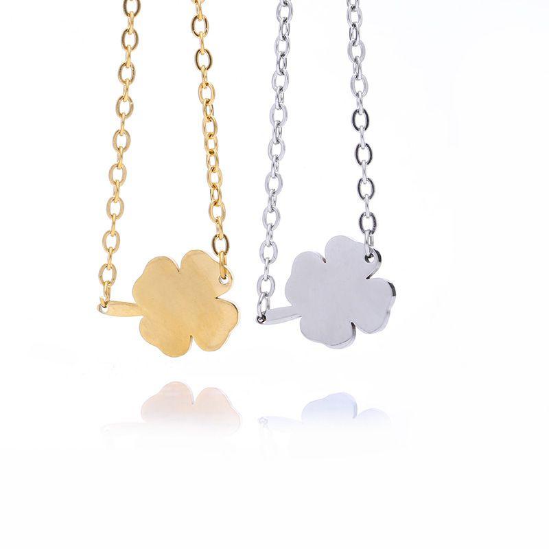 Mode En Acier Inoxydable Bracelet À Quatre Feuilles De Paille Trèfle Charms Bracelets pour Femmes Amoureux Bijoux Partie Bon Cadeau