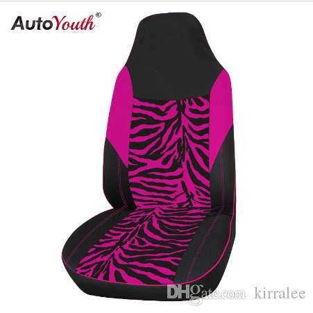 AUTOYOUTH Front Car Seat Cover Universal Fit For Most Bucket Zebra Print Styling Pink Accessories Cheap Sets From