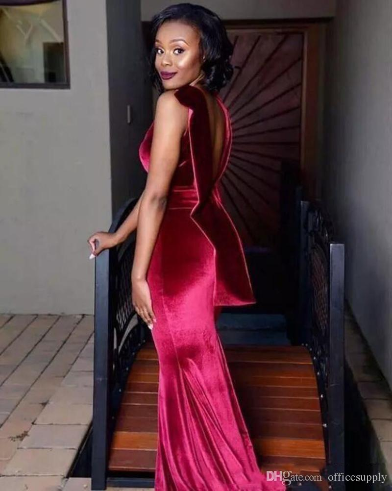 Dark Red Velvet African Prom Dresses 2018 Sexy Mermaid Front Split Evening Gowns Backless Beaded Waist Formal Party Dress Custom Made