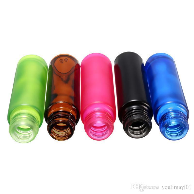 10ml 1 / 3oz épais rouleau ambre sur une bouteille en verre parfums cosmétiques bouteilles d'huile essentielle avec bille en acier mélangé 5 couleurs