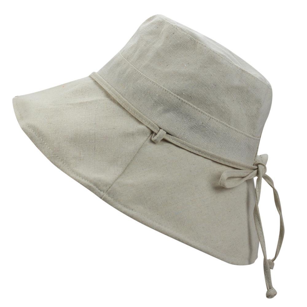 2e9f9a2a Womens Cotton Summer Travel Beach Sun Anti-UV UPF 50+ Foldable Wide Large  Big Brim Bucket Hat Cap with Wind Lanyard