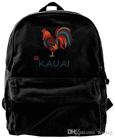 32e0bea91186 Kauai wild rooster Fashion Canvas Shoulder Backpack For Men & Women Teens  College Travel Daypack Knapsack Laptop Designer bag