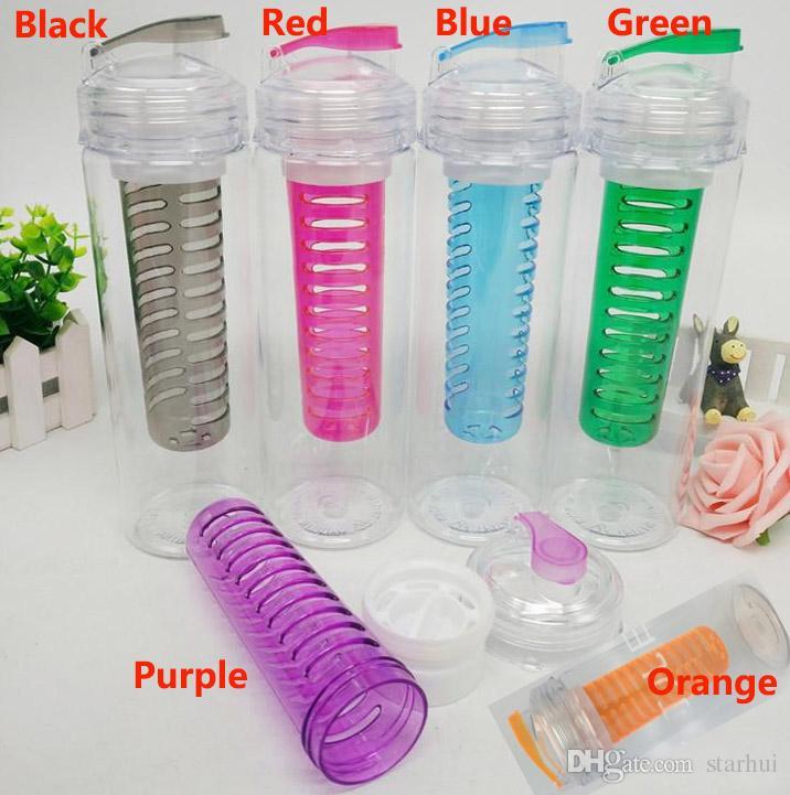 28 Unzen Fruit Infuser Wasserflasche Sport BPA Tritan Rod Shaker Ball Zitrone Orange Infuser Becher Tasse Mit Flip Top Deckel WX9-334