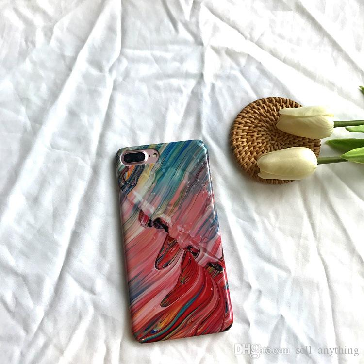 For Iphone X Phone Cases INS Simple Oil Painting Creative Glossy Hard Shell Colorful Painting Cell Phone Case For Iphone 6 7 Plus