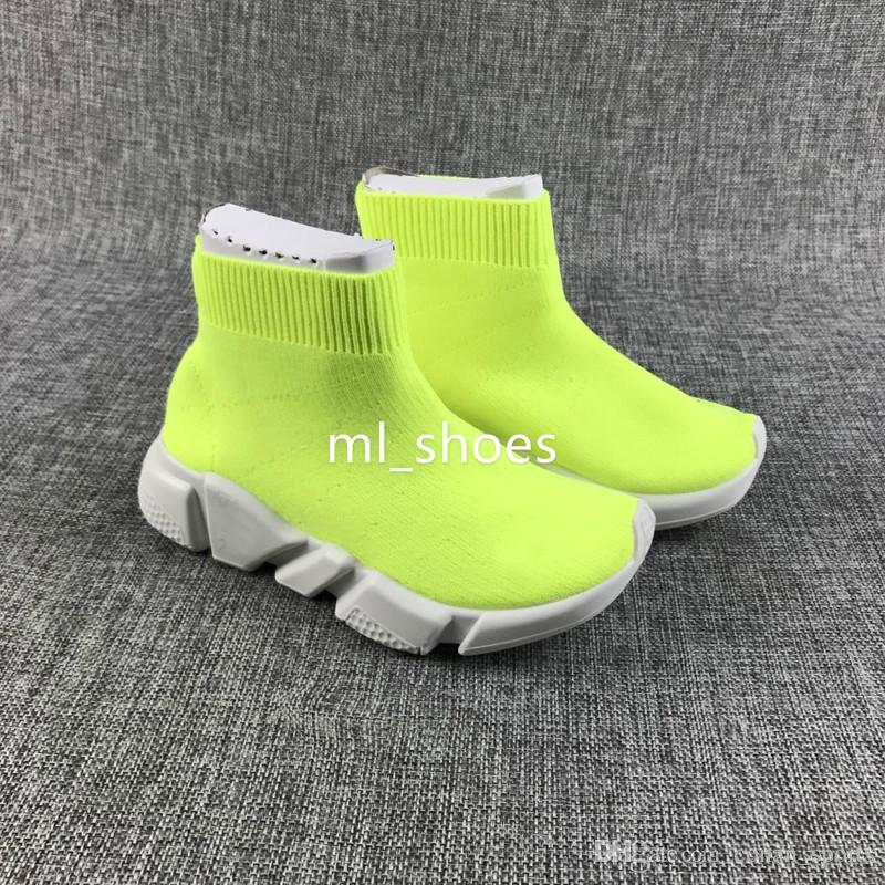 Fashion Baby Kids Socks Boots Children Athletic Shoes Slip-On Casual Flats Speed Trainer Sneaker Boy Girl High-Top Running Shoes Black White