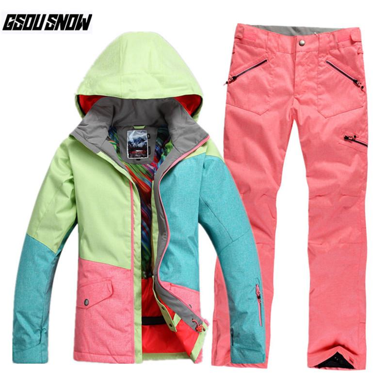 1cfbe8bbdb 2019 GSOU SNOW Brand Ski Suit Women Ski Jackets Pants Snowboard Sets Winter  Waterproof Skiing Suit Female Cheap Snowboarding Clothing From Qingbale