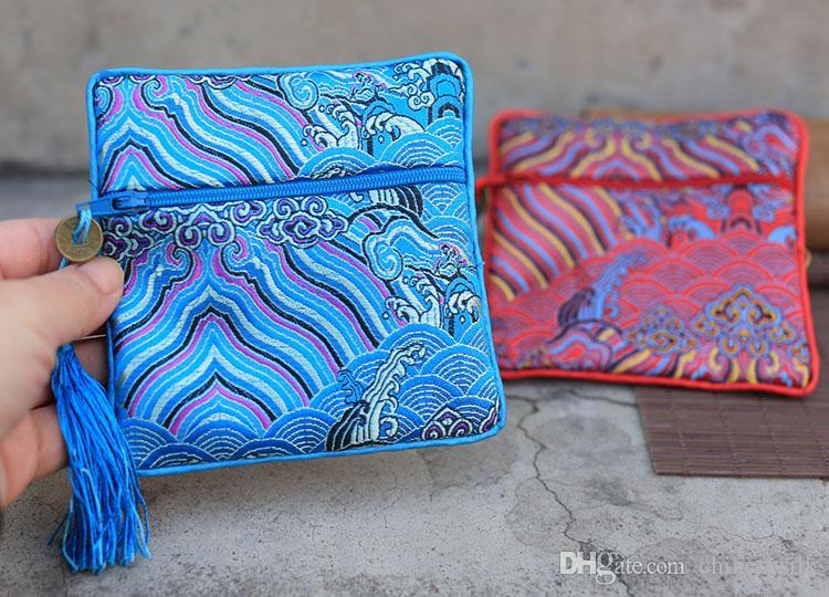 Onda piccola cerniera portamonete sacchetto di gioielli di seta cinese sacchetti regalo sacchetto nappa titolare della carta di credito sacchetto del braccialetto delle donne 10 pz / lotto