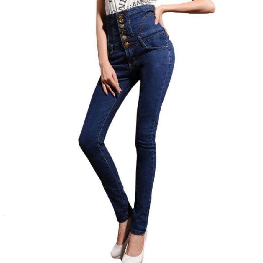 42d55ecdd90 6XL Plus Size Women's high waist jeans skinny elastic denim pencil pants  Plus large size buttons long trousers