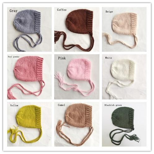 648bc8d16 Fashion Hand knitted Baby Cap Photography Props,Cute Newborn Hat Baby  Bonnet Beanie Newborn Fotografia 9 Colors shower gift