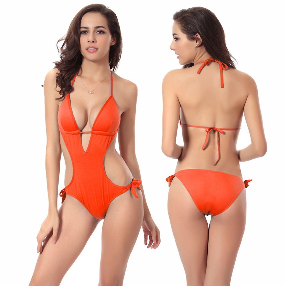 Big Yard Playaro Moda Mujer Traje de baño Bikini Summer Plus Size Sexy Beach Holiday Colorido Sólido traje de baño Big Yard Lady Brakinis de una pieza