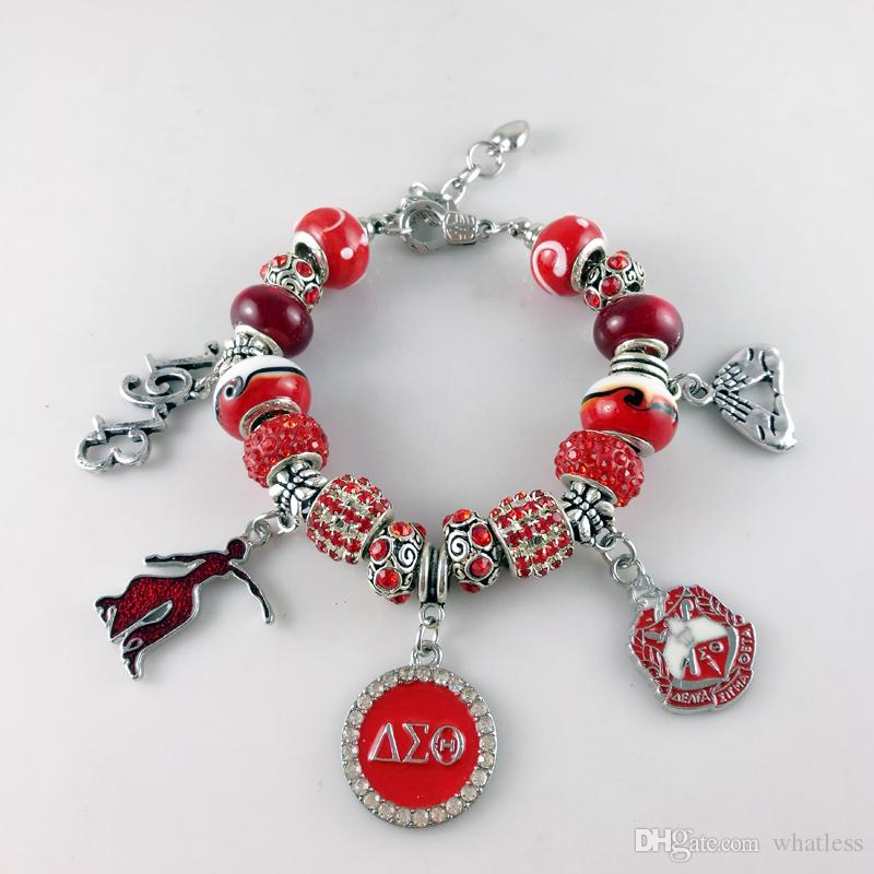 NEW Red Bead Delta Sigma Theta Sorority Founder Lady Heart Handsign DST Charm Bracelet Jewelry Gift for Women