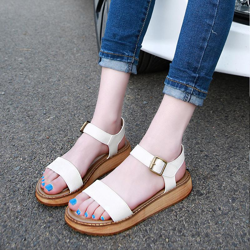 b94f8944d217b 2018 Europe And America Summer Sandals Female New Word Buckle ...