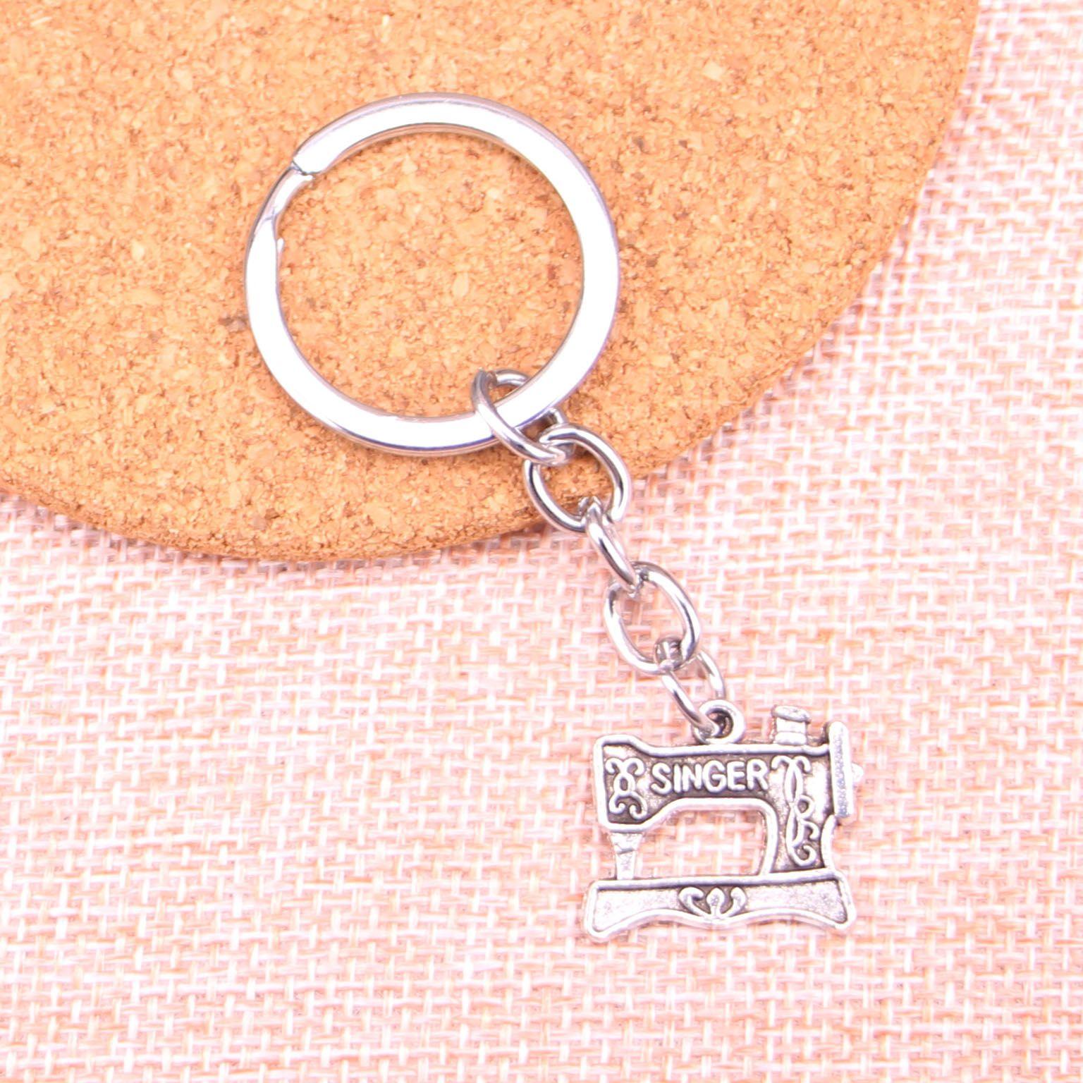 New Fashion 20*17mm vintage singer treadle sewing machine KeyChain, New  Fashion Handmade Metal Keychain Party Gift