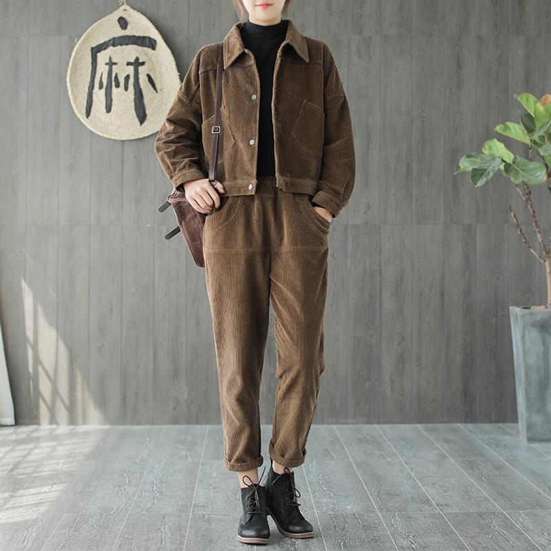 Autumn Winter Suit Retro Women Loose Cardigan Button Tops Elastic Waist pocket Pants New Mori girl Corduroy Ladies Casual Suit