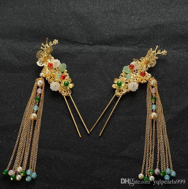 2018 Çin tarzı düğün kostüm saç çember Coronet antik tokalar suit