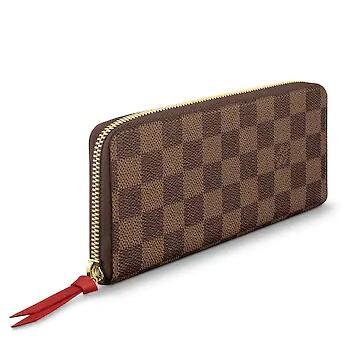 sports shoes bf2cc f83da CLÉMENCE WALLET red lining N60534 Real Caviar Lambskin Chain Flap Bag LONG  CHAIN WALLETS KEY CARD HOLDERS PURSE CLUTCHES EVENING