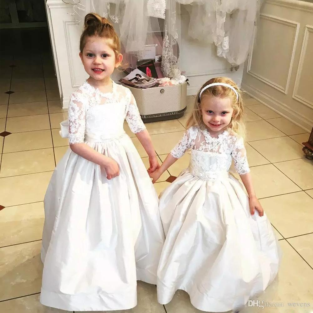 a79a09152eec Charming A Line Bow Tie Back Girls Dress For Wedding O Neck Short Sleeve  Top Lace Communion Gown Sash Long Christening Dress Plum Flower Girl Dresses  Purple ...