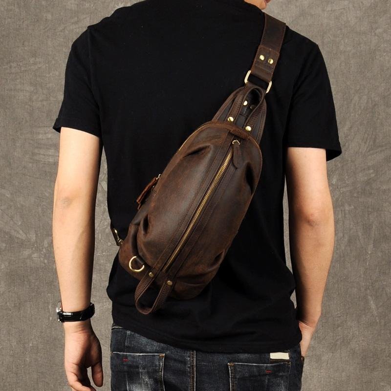 Brand Men Vintage Genuine Leather Messenger Shoulder Bag Cowhide IPad Chest  Pack Zipper Male Handmade Pouch Chest Purse 1921 Summer Handbags Satchel  Bags ... 014bc3a545246