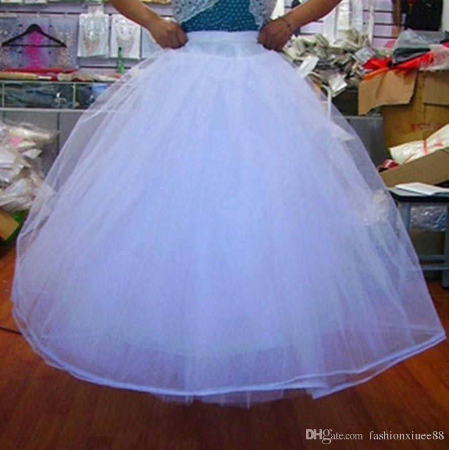 Vestido de bola de la boda nupcial Crinoline Underskirt enagua para las mujeres Hoopless Slip Skirt nupcial blanco accesorios 2018