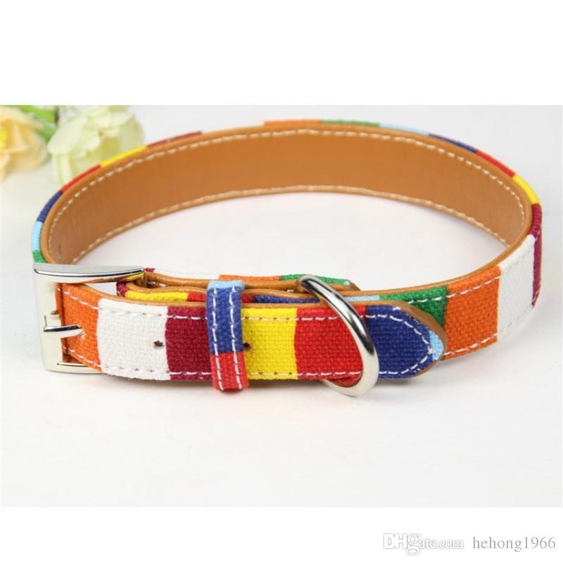 Arcobaleno colorato divertente cane collari tessuto di tela con materiale di simulazione in pelle dell'anello dell'animale domestico cane lega fibbia cani collana vendita calda 11 5cl4 Z