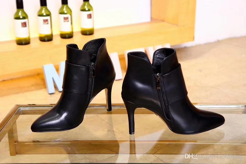 e8613920eef4 2018 Sexy High Heels Ankle Boots For Women Real Leather Fashion Booties  Black Pointed Toe Motorcycle Women Ankle Chelsea Martin Boots Shoes Cheap  Shoes ...