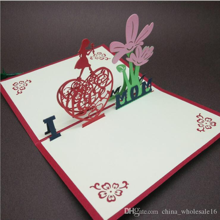 Wholesale 3D pop up Mothers Day postcard Love MOM gifts Thanksgiving greeting cards with envelope Festival flowers laser cut hollow handmade