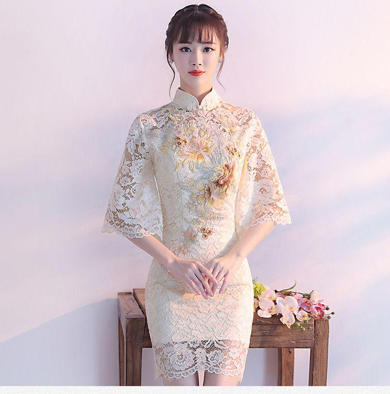 a5554633a2b43 Satın Al BY812 Kadınlar Elbiseler Akşam Elbise Cheongsam Zarif Dantel Çiçek  Ünlü Tasarımcı Parti Resmi Elbise Kısa Elbise, $83.42 | DHgate.Com'da