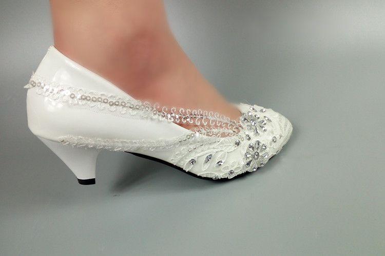 fb5e100a6 Sapatos De Salto Flor Branca De Casamento Sapatos De Noiva De Cristal  Vestido De Festa Senhoras Sapatos De Salto Alto Plataforma Sapatos 5 Cm / 8  Cm / 10 Cm ...