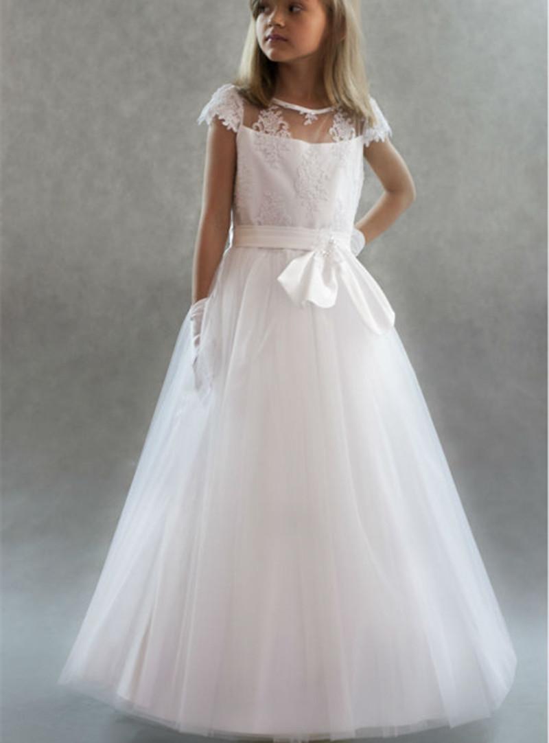 Cap Sleeve Tulle Custom Cute Lace Tutu White Flower Girl Dress Floor