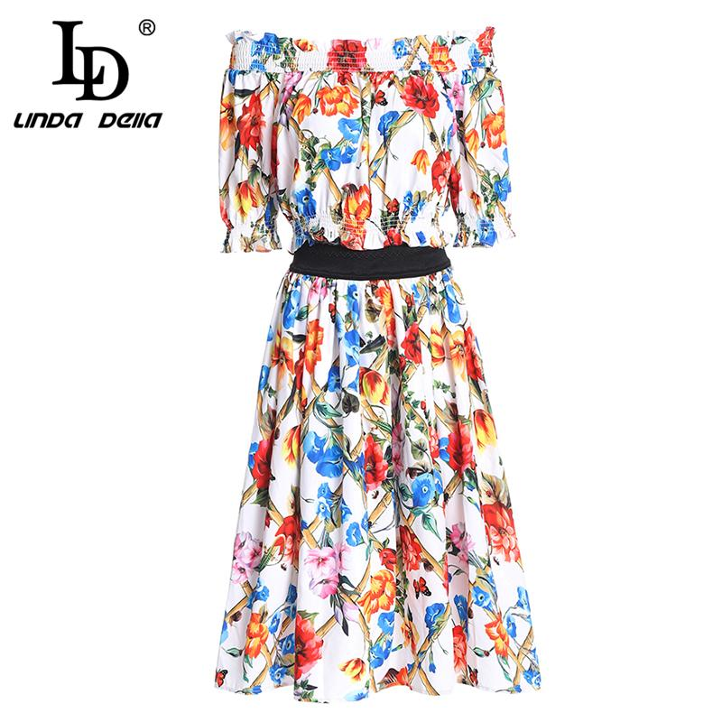 f20977a3ec7b 2019 LD LINDA DELLA Fashion Two Pieces Set Women S Suit Party Sexy Off The Shoulder  Elastic Top And Casual Floral Print Skirts Sets From Qackwang