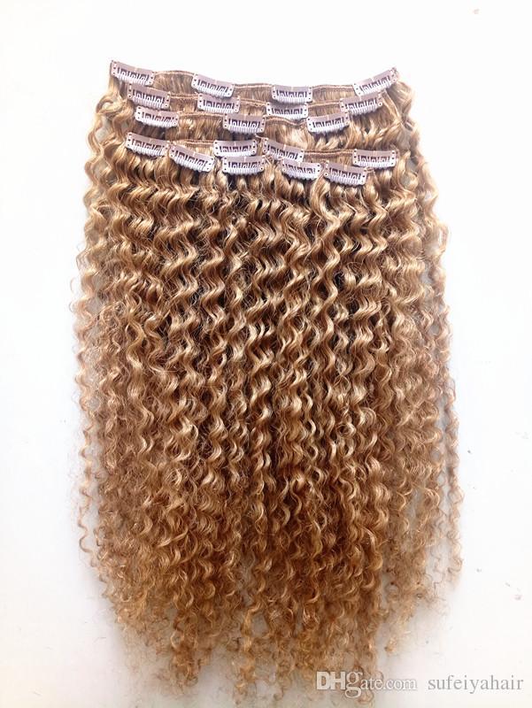 Brasilianisches Jungfrau-Remy-dunkles blondes Haar-lockiges Klipp im Haar-Schuss-weiche doppelte gezeichnete Haar-Erweiterungen unverarbeitet
