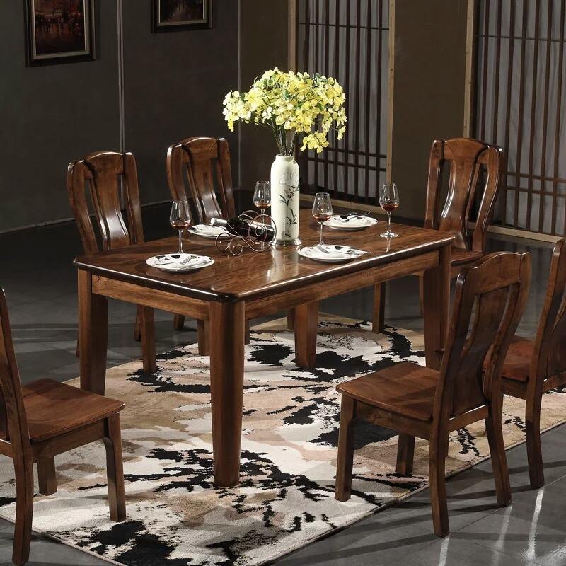 2018 Solid Wood Dining Table And Chair Combination Gold Black Walnut ...