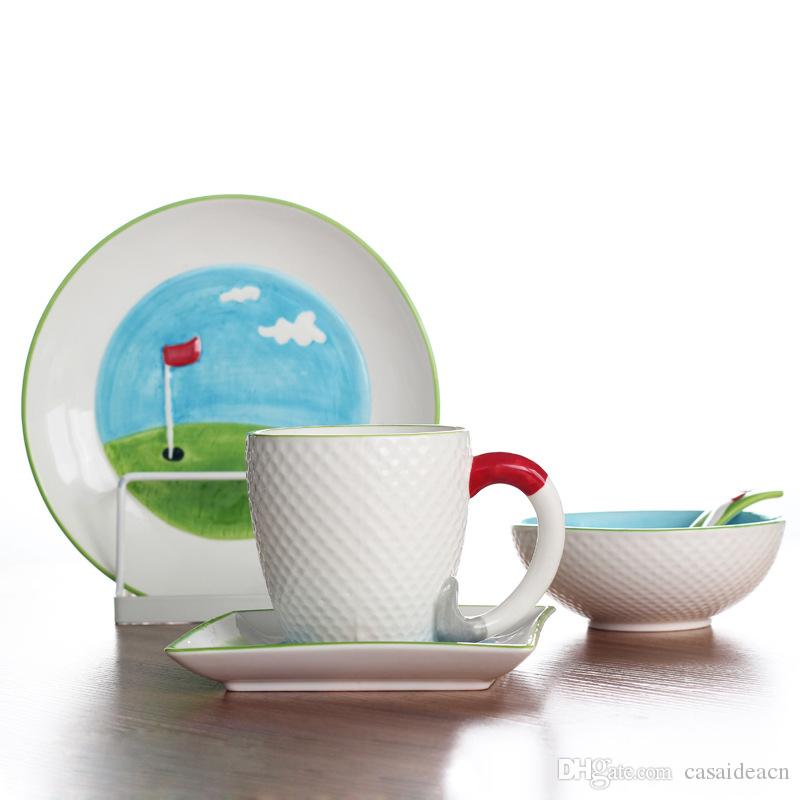 Creative Golf Lovers Gift Ceramic Breakfast Set Hand Painted Relief Golf Ball Theme Dinner Plates Dishes Cereal Bowl Coffee Mug