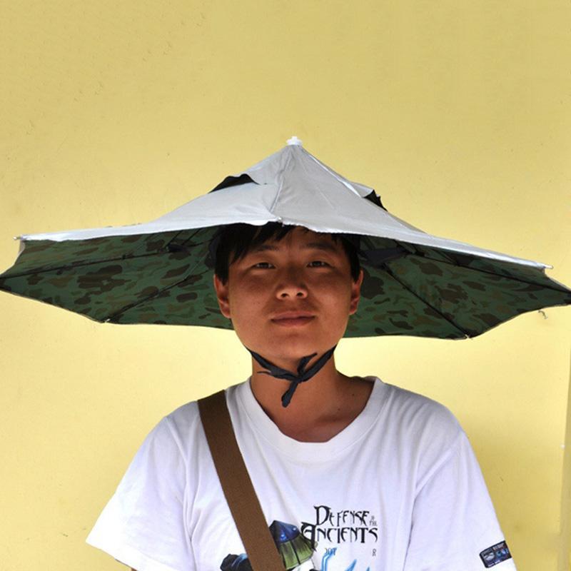 2a224dd367697 2019 New Arrival 80cm Umbrella Hat Portable Outdoor Fishing Anti UV Parasol  Dual Folding Umbrella Rain Women Men From Baibuju8