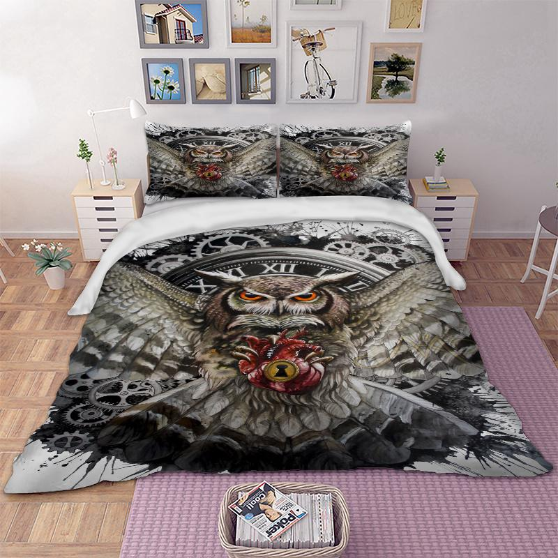Owl Bedding Set Animal Duvet Cover Quilt Cover Pillow Cases Twin