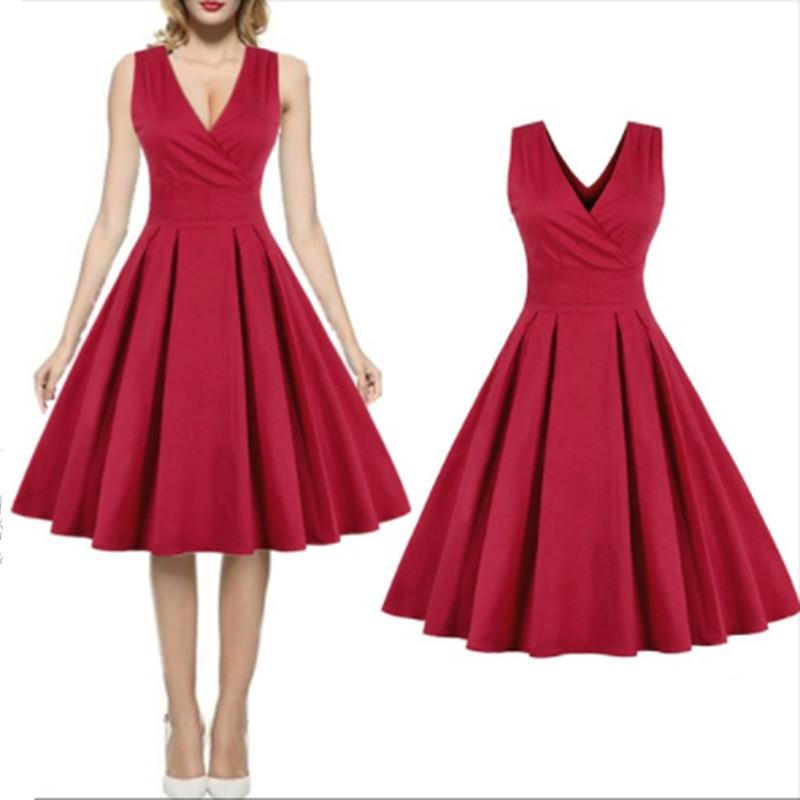 80e475e18408 Red Summer Dress 2019 New Fashion Women Short Sleeve Solid Ball Gown  Elegant Pleated Dress V Neck Mini Party Dresses Vestidos Summer Lace Dresses  Cocktail ...
