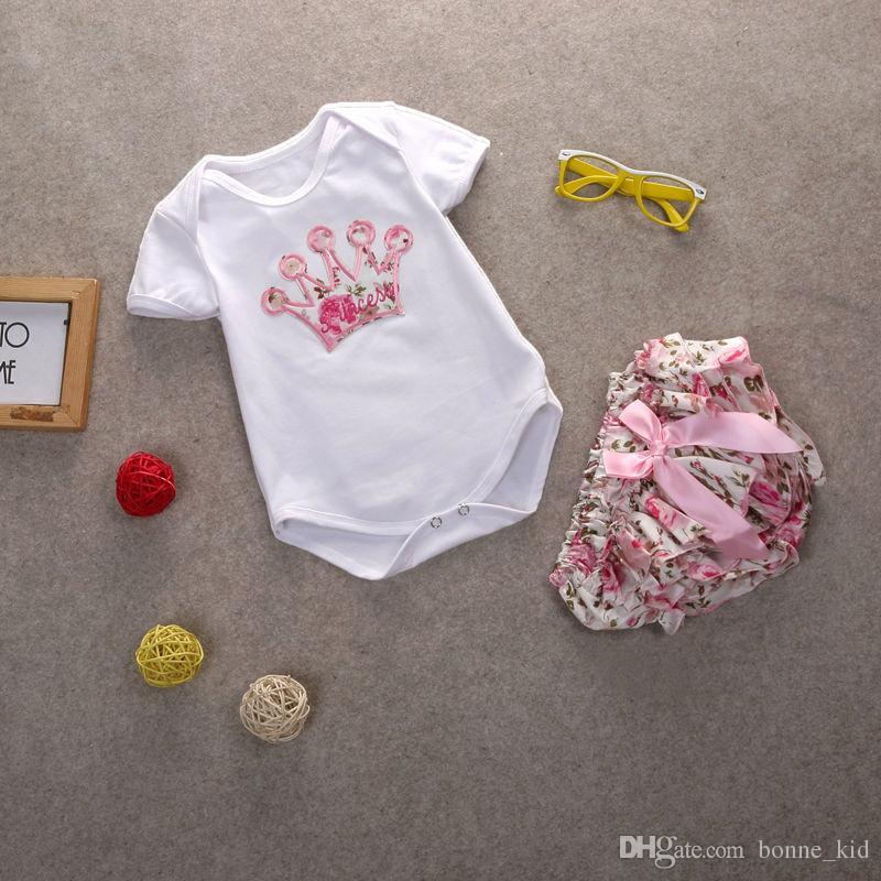신생아 아기 소녀 꽃 의상 Romper + 반바지 세트 꽃의 왕관 바보 여름 아기 소녀의 의류 부티크 옷