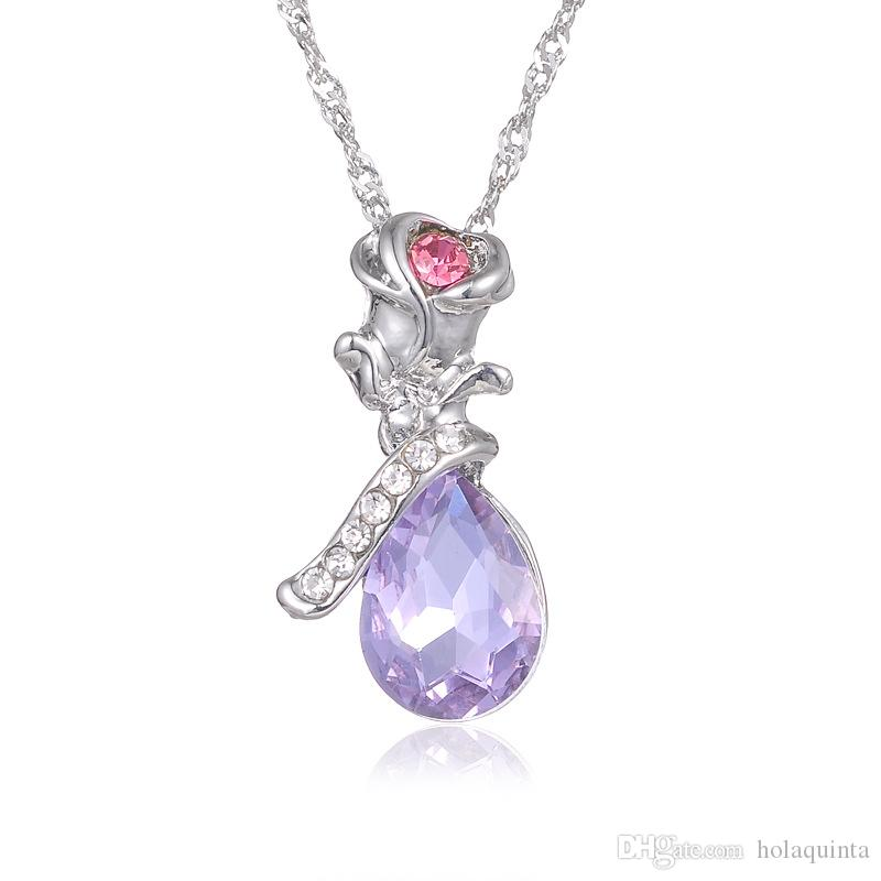 El más nuevo 925 chapado en plata Tendencia Mujer Collar Angel Tears Forma Lmitation Crystal Rose Colgante Collar Flor Joyería