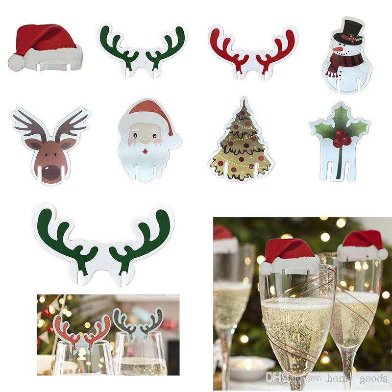 Christmas Decoration Wine Glass Markers Charms Label Home Table Place Cards Santa Claus Hat Elk Tree Xmas Birthday Party Wedding Supplies