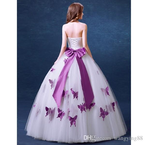 Moda kelebek mor uzun gelinlik 2018 straplez bir çizgi tül Gelin Kıyafeti düğün için parti vestido de noiva