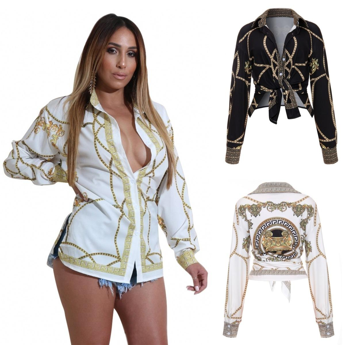 cadb438c7de0f 2019 2018 Autumn Gold Chain Print Blouses For Women Long Sleeve Turn Down  Collar Button Up Female Shirt Sexy Casual Ladies Tops From Zibinglu
