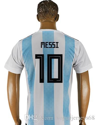Mens New 2018 Argentina Team #1 Sergio Romero Diego Maradona 9 Gabriel Batistuta 10 Lionel Messi Uniforms Shirts Sports Soccer Jerseys Cheap