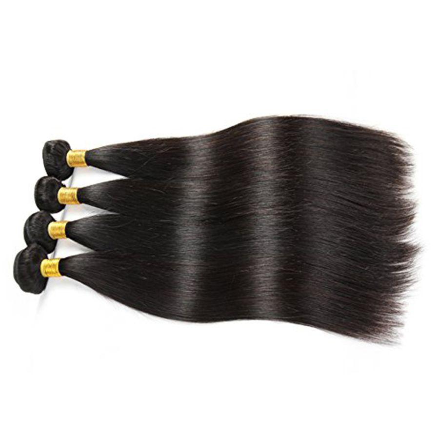 Brazilian Straight Virgin Hair 4 Bundles 100% Unprocessed 8A Brazilian Human Hair Extensions 8-28inch Cheap Hair Weave Bundles Natural Color