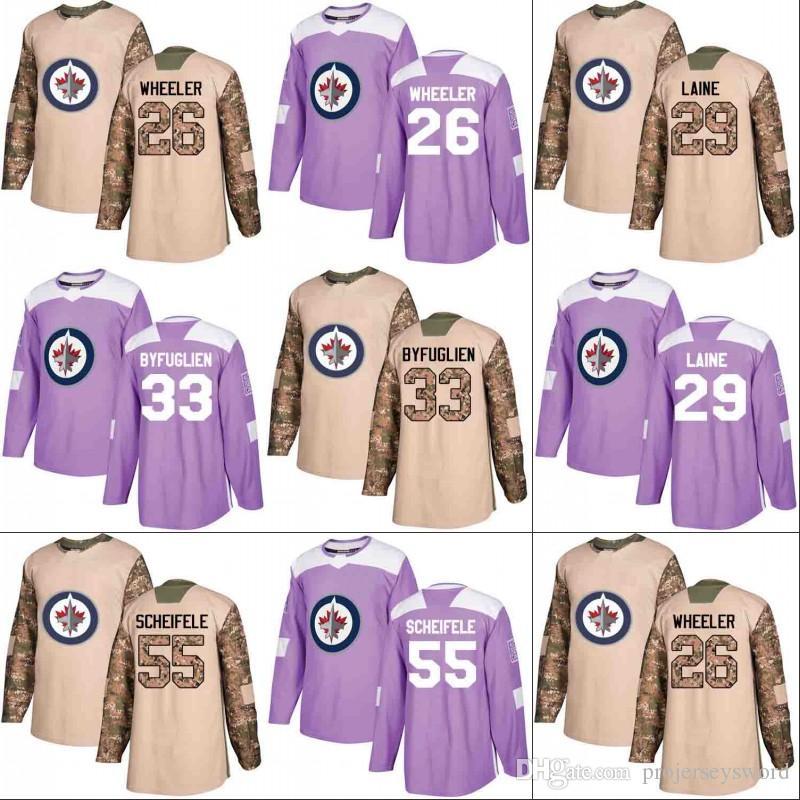 newest 53119 1e137 Winnipeg Jets Jersey Veterans Day Fights Cancer Practice 26 Blake Wheeler  29 Patrik Laine 33 Dustin Byfuglien 55 Mark Scheifele Jerseys